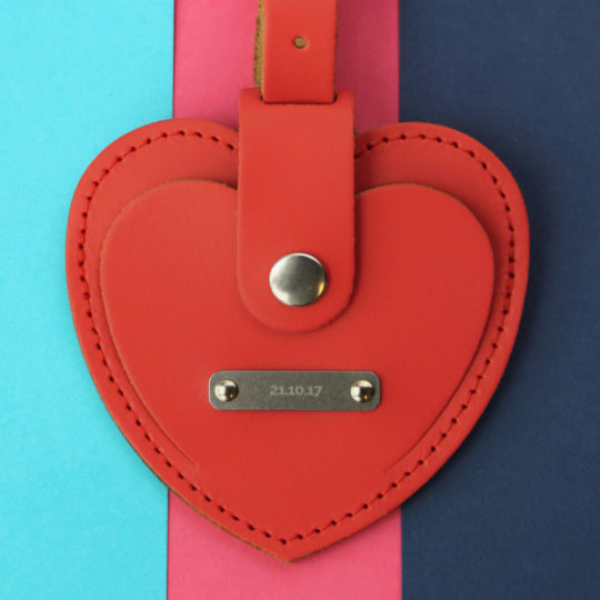 Brit-Stitch Heart Luggage Tag